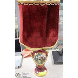 VINTAGE RED DECORATIVE TABLE LAMP - VELVET SHADE
