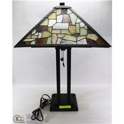 TIFFANY STYLE HANDCRAFTED STAINED GLASS LAMP.