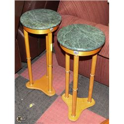 2 OAK AND GREEN MARBLE PLANT STANDS