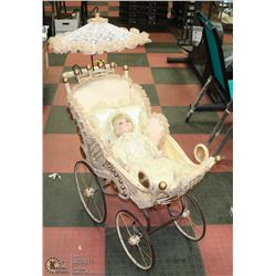 LARGE VINTAGE WICKER CARRIAGE WITH PALMARY