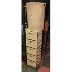 SET OF WICKER BASKET , LAUNDRY BASKETS AND 5