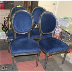 LOT OF 4 WOOD & BLUE FABRIC SHOWHOME STYLE CHAIRS