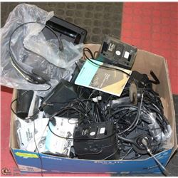 BOX OF PLANTRONICS MIXED BOX OF HEADSETS AND