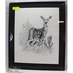 SIGNED PICTURE OF DEER WITH FAWN, 21 X 24