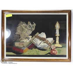1985 PETIT POINT PICTURE OF OWL/BOOKS/CANDLE