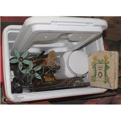 RED & WHITE COLEMAN COOLER FULL OF MISC INCL
