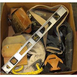 LARGE BOX W/KUNYS LEATHER TOOL BELT,