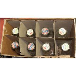 BOX OF VINTAGE MILK BOTTLES