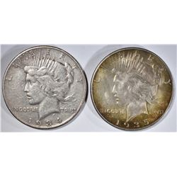 1934-S VF & 1935 AU PEACE DOLLARS
