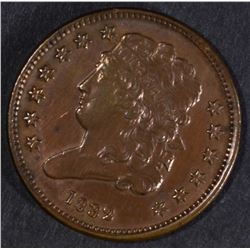 1832 HALF CENT, AU cleaned