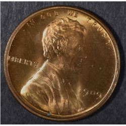 1909 VDB LINCOLN CENT, GEM BU RED