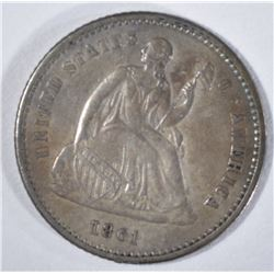 1861 SEATED HALF DIME, XF/AU