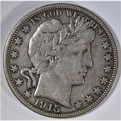 1915-D BARBER HALF DOLLAR, VF