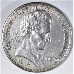 1918 LINCOLN COMMEM HALF DOLLAR, AU/BU