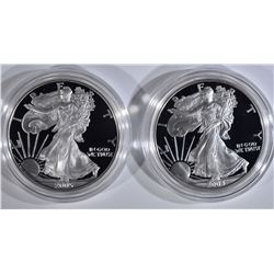 2 - PROOF AMERICAN SILVER EAGLES