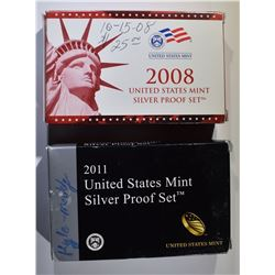 SILVER PROOF SETS: 2011 & 2008