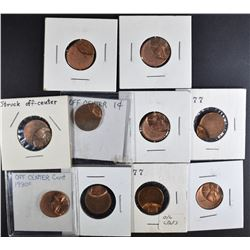 ( 10 ) OFF CENTER LINCOLN CENTS