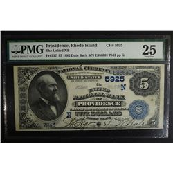 1882 DATE BACK $5 NATIONAL CURRENCY PMG 25