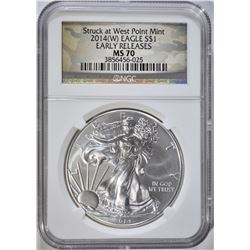 2014(W) AMERICAN SILVER EAGLE NGC MS 70