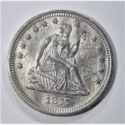1877-S/HOR. S SEATED LIBERTY QUARTER AU CLEANED