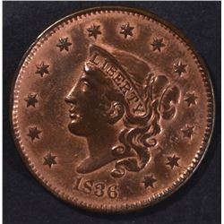 1836 LARGE CENT AU CLEANED