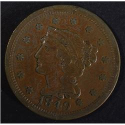 1849 LARGE CENT VF