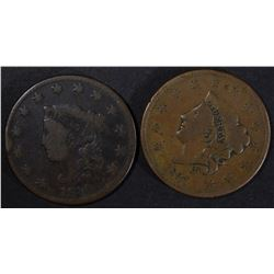 1830 & 1837 LARGE CENT VG