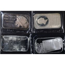 4-DIFFERENT 1oz .999  SILVER BARS
