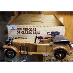 WOOD REPLICA OF A CLASSIC CAR W/BOX