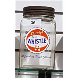 VINTAGE WHISTLE SODA CANDY JAR