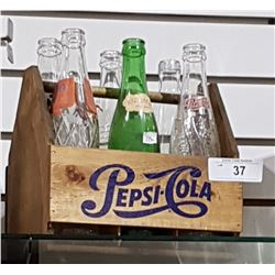 WOOD PEPSI COLA CRATE W/6 VINTAGE POP BOTTLES