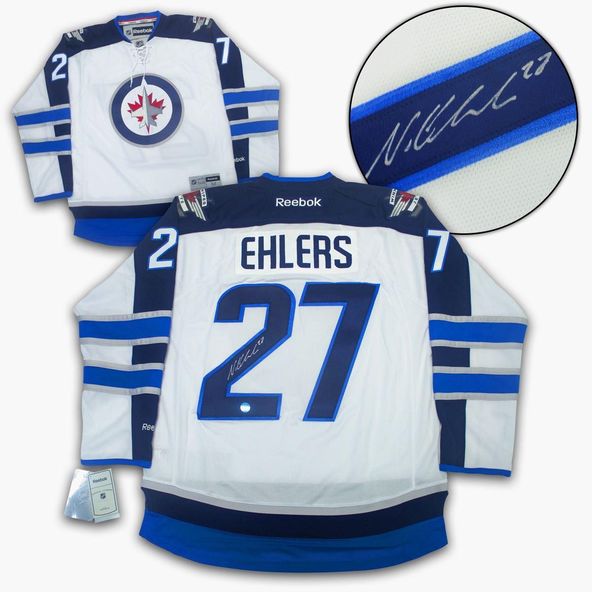 brand new 598ff 2f7c0 Nikolaj Ehlers Winnipeg Jets Autographed White Reebok Premier Jersey