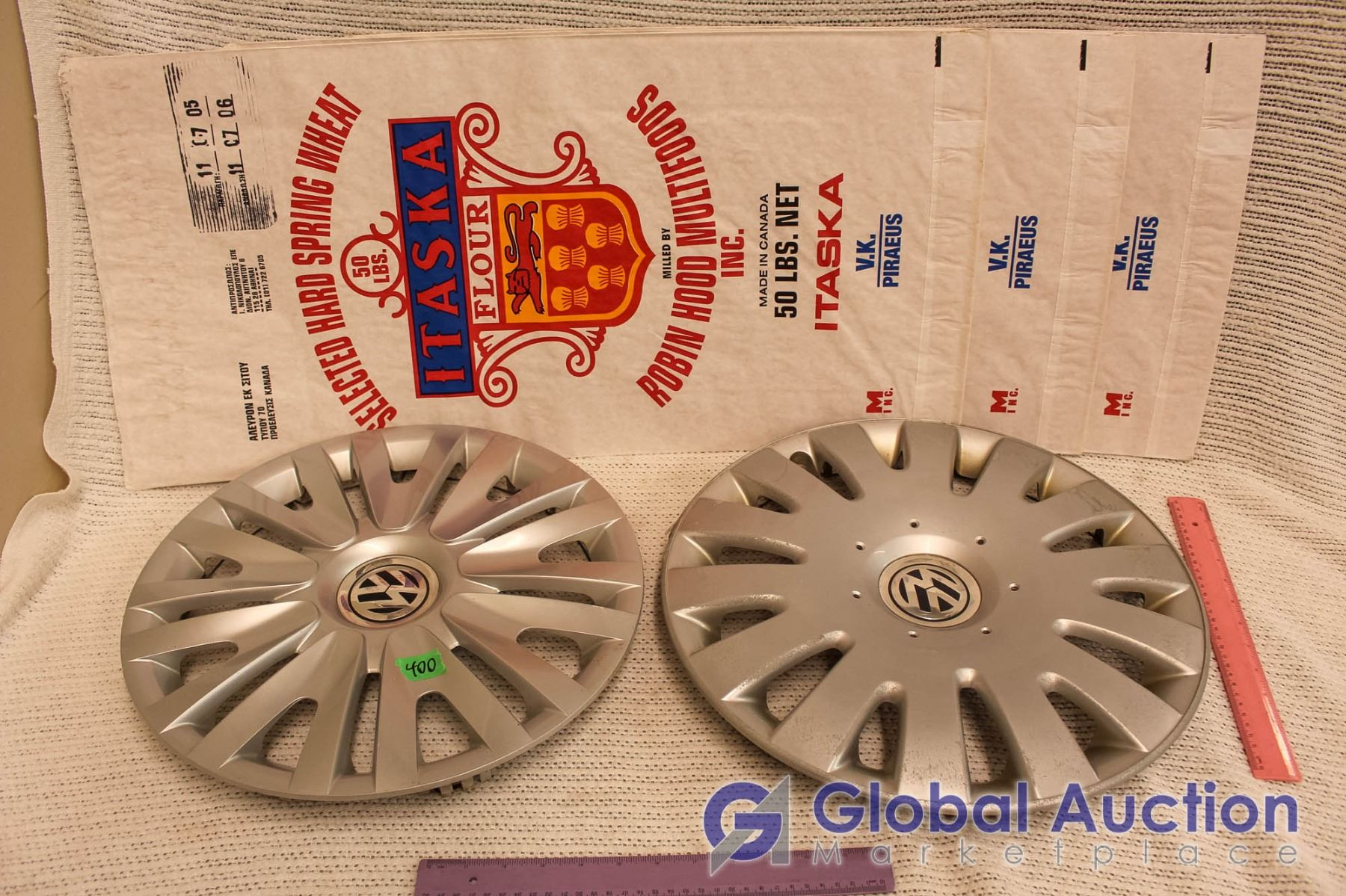 Vintage Flour Bags With VW Hubcaps