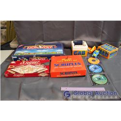 Lot of Board Games and DVD Games (Mad Gab, Scruples, Scrabble, Canadian Monopoly)