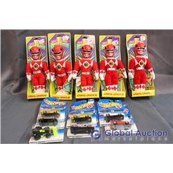 (5) Power Rangers Toys and (7) NIB Hot Wheels
