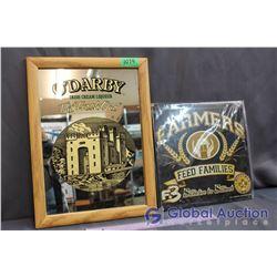 Framed O'Darby Irish Cream Liqueur Mirror (11.5' x 16') and Farmers Feed Families Sign (11' x 11')