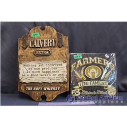Wooden Calvert Extra Sign (12' x 17.5') and Farmers Feed Families Sign (11' x 11')