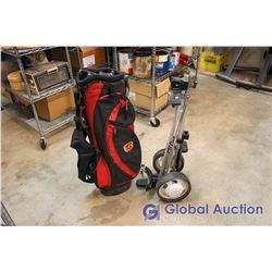 Red Calgary Flames Golf Bag & Golf Caddy