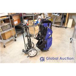 Hot Z Blue Golf Bag full of a Set of Ben Hogan Golf Clubs with Caddy