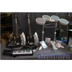 Lot of Wii Rock Band Instruments (Drums, Microphones, Kiss Guitars, Games, etc)
