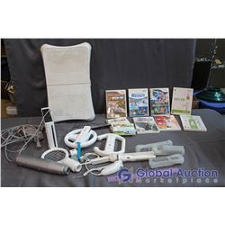 Wii Gaming Console with Wii Fit Board, 2 Wiimotes, Steering Wheels, Wii Sports Accessories, 10 Games