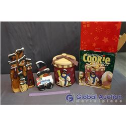 NIB Snowman Cookie Jar, Handpainted Snowman Paper Towel & Napkin Holders