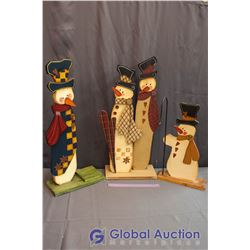 """3 Piece Set of Wooden Decorative Snowmen Approx 30"""" and 24"""" high"""