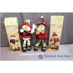 Decorative Bear & Snowman Figures w/boxes (Positionable)
