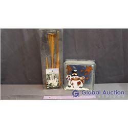 Christmas Street Tea light Holders & Hand Painted Glass Block