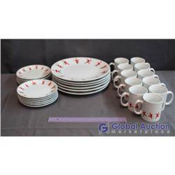 Set of Santa clause Dishware (11 Mugs, 12 Dessert Plates & 6 Dinner Plates)