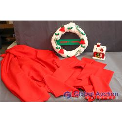 Lot of Chirstmas Decor - Red Oval Table Cloth and 8 Cloth Napkins (Like New) House with LED Color Ch
