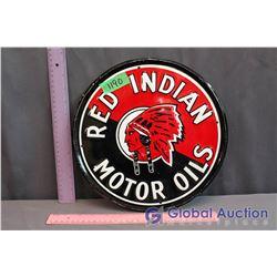 "Metal Red Indian Motor Oils Sign (11.5"")"