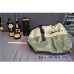 Cabella's Waterproof Duffle Bag, Wooden Case, Little Brown Jug, Frungelico Liqueur, Black Tower Whit