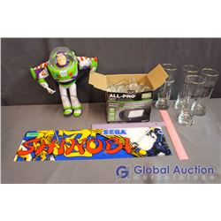 Shinobi Arcade Marquee and Buzz Lightyear Toy, Glasses and Shot Glasses